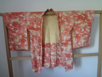 Traditionele Japanse haori kimono jasje Japan rose wit