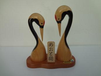 Japans Houten Beeldjes Vogels Tsuru Meoto Japanse